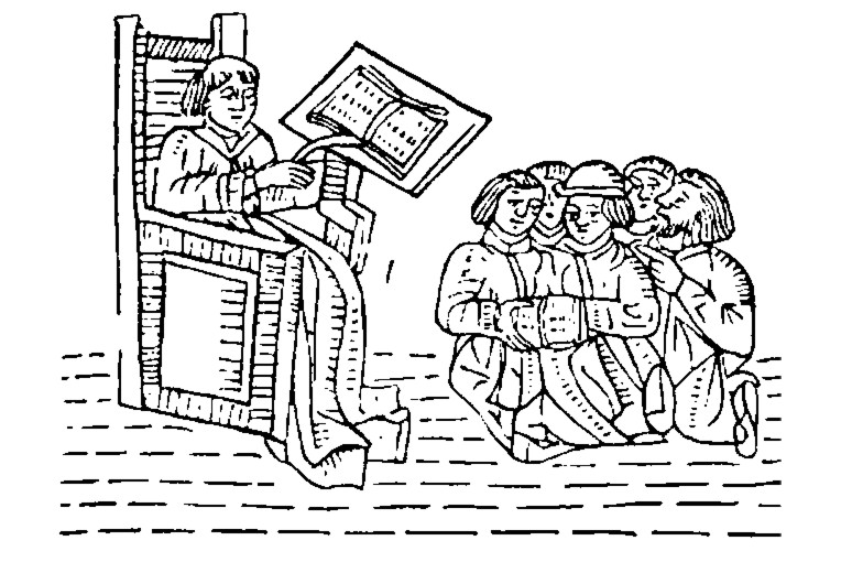 http://commons.wikimedia.org/wiki/File:A_Medieval_Classroom.jpg